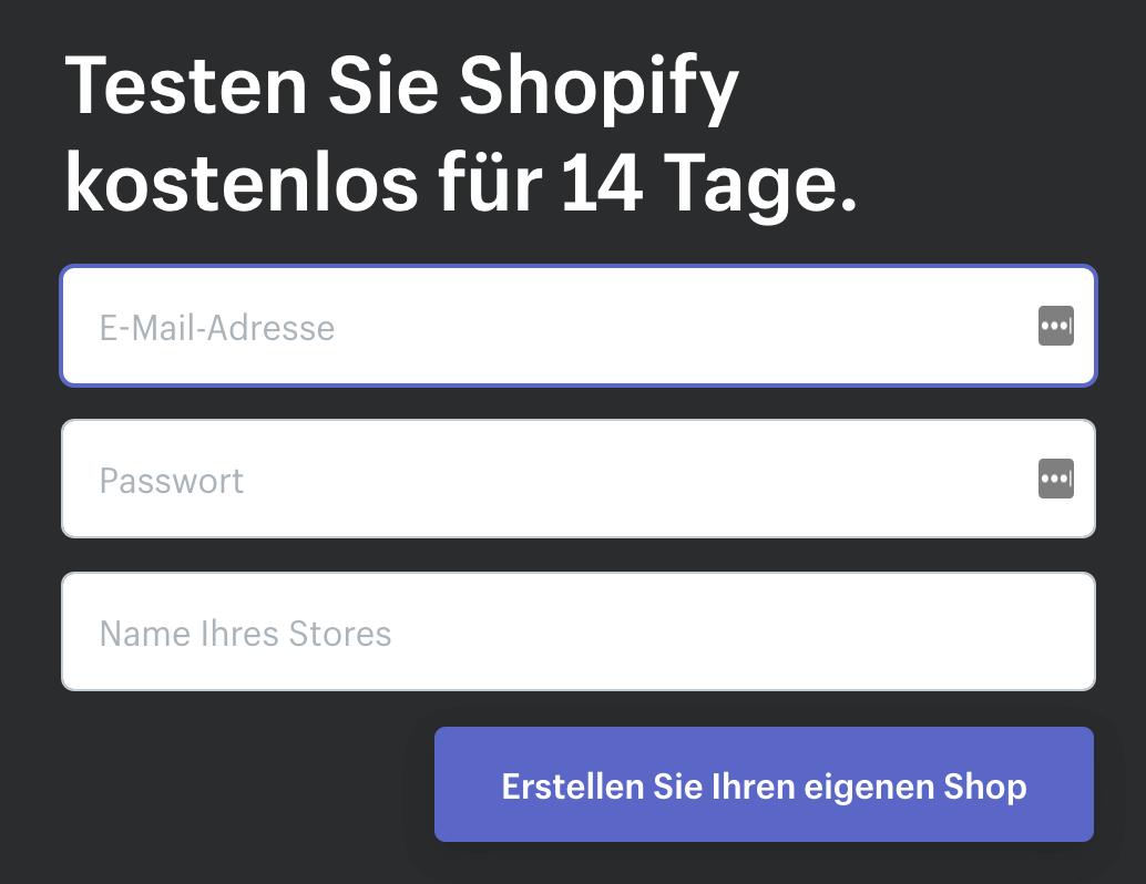 Anmeldemaske von Shopify