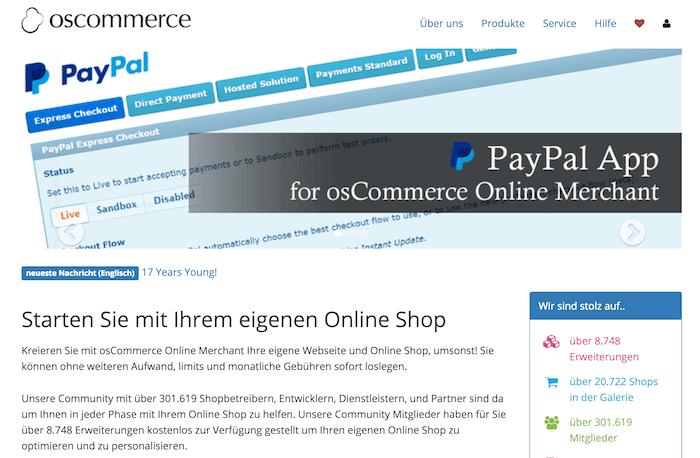 osCommerce Startseite