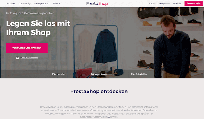 PrestaShop Startseite