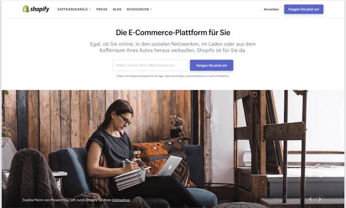 Startseite von Shopify