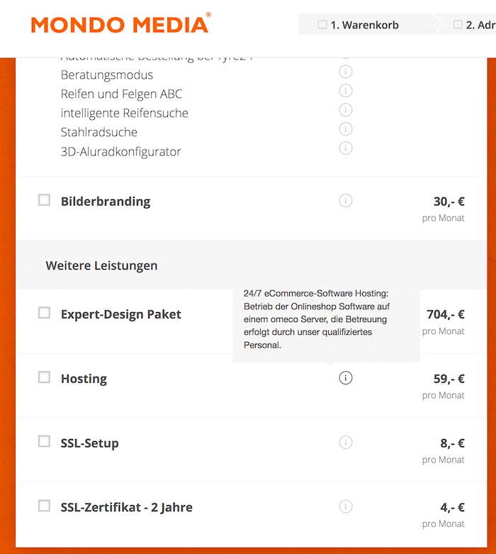 Mondo Media Preisliste Hosting