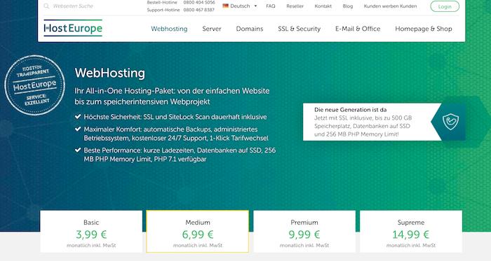 HostEurope Startseite