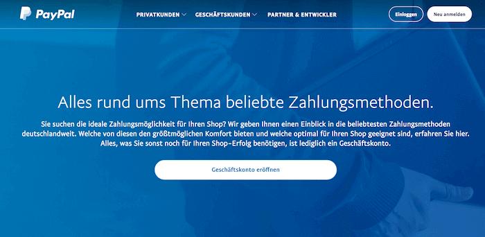PayPal Startseite