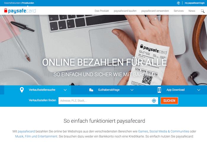 paysafecard Startseite