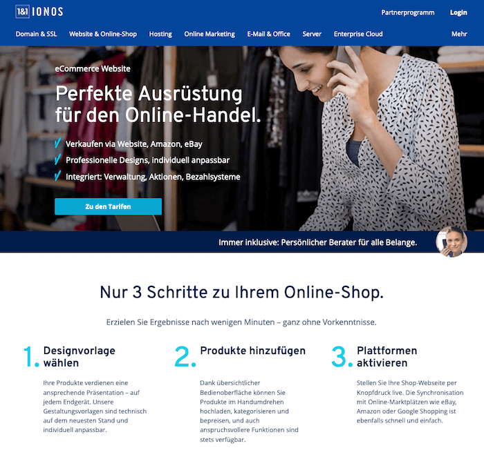 1&1 E-Shop Startseite