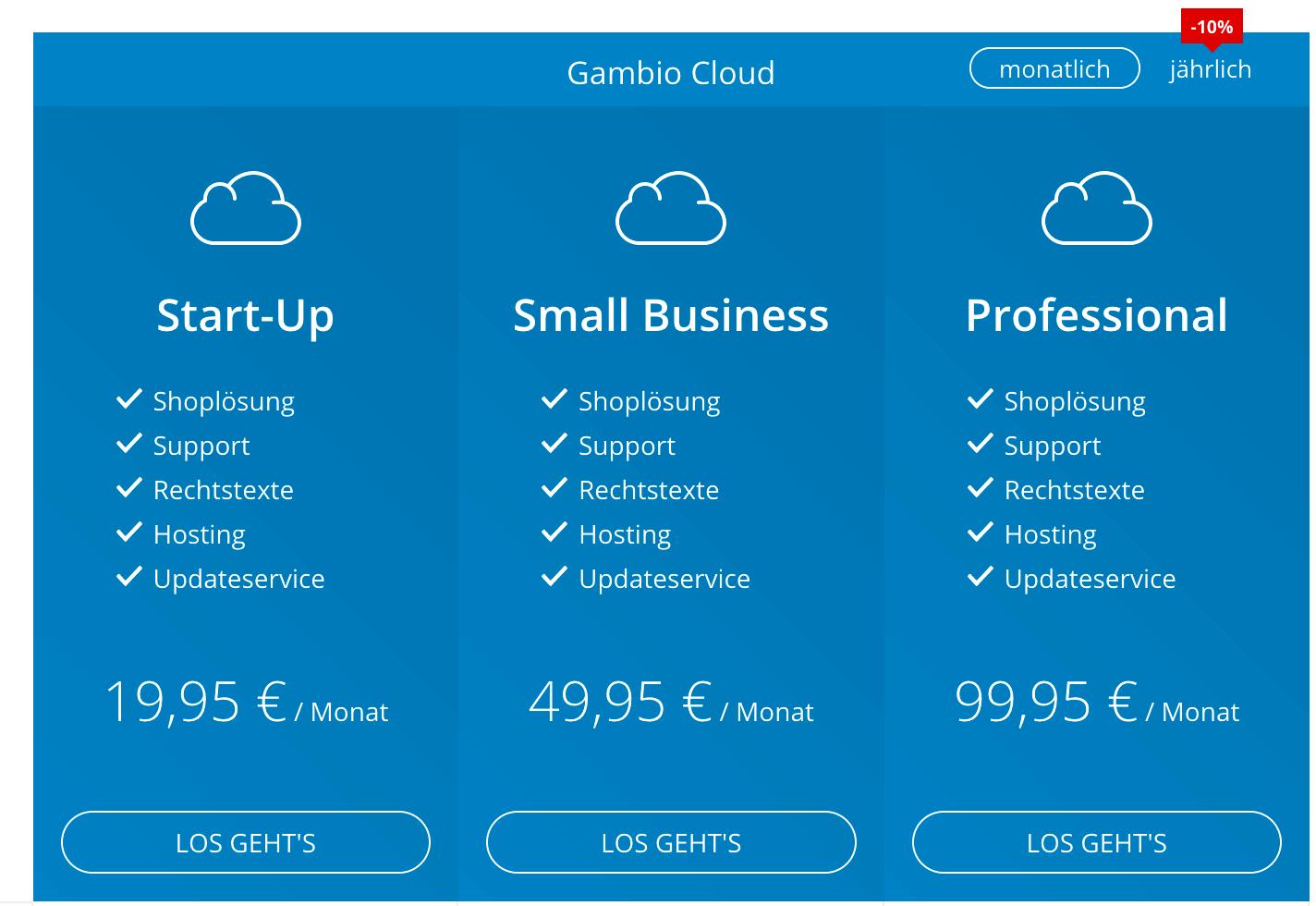 Gambio Cloud Preise